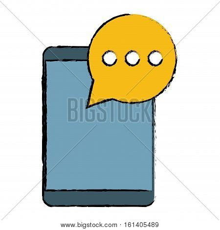 mobile device bubble speech dialog sketch vector illustration eps 10