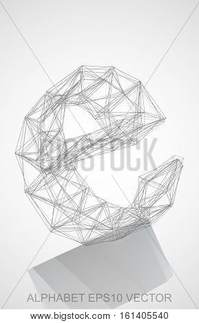 Abstract illustration of a Pencil sketched E with Reflection. Hand drawn 3D E for your design. EPS 10 vector illustration.