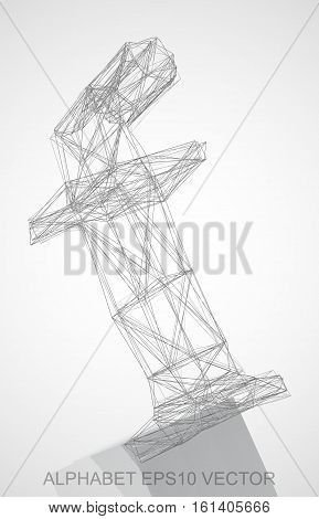 Abstract illustration of a Pencil sketched F with Reflection. Hand drawn 3D F for your design. EPS 10 vector illustration.