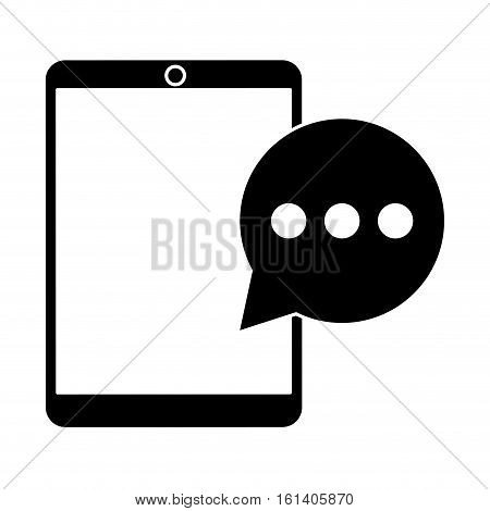 mobile device bubble speech dialog pictogram vector illustration eps 10