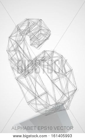 Abstract illustration of a Pencil sketched 6 with Reflection. Hand drawn 3D 6 for your design. EPS 10 vector illustration.