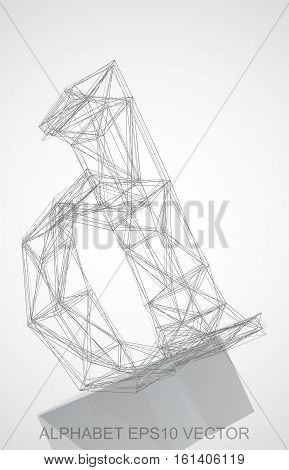 Abstract illustration of a Pencil sketched D with Reflection. Hand drawn 3D D for your design. EPS 10 vector illustration.
