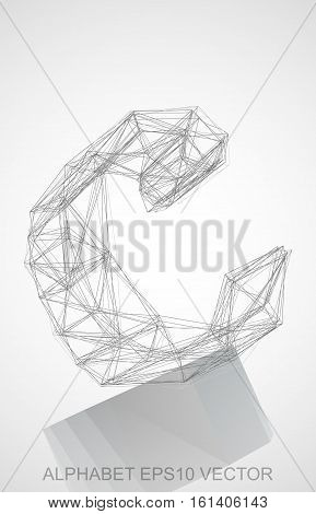 Abstract illustration of a Pencil sketched C with Reflection. Hand drawn 3D C for your design. EPS 10 vector illustration.