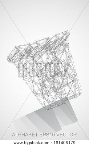 Abstract illustration of a Pencil sketched W with Reflection. Hand drawn 3D W for your design. EPS 10 vector illustration.