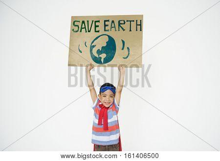 Save Earth Global Environment Boy girl Concept