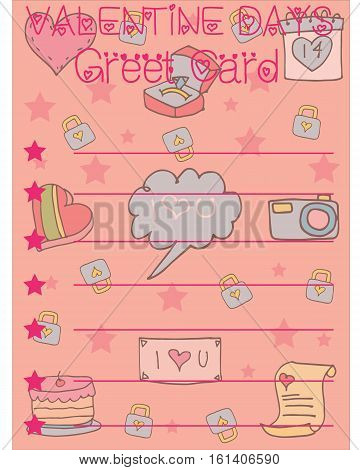 Vector illustration gretting card valentine collection stock