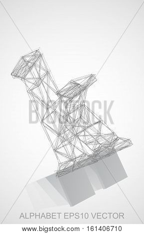 Abstract illustration of a Pencil sketched K with Reflection. Hand drawn 3D K for your design. EPS 10 vector illustration.