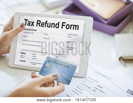 Tablet Tax Refund Form Concept
