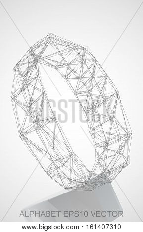 Abstract illustration of a Pencil sketched O with Reflection. Hand drawn 3D O for your design. EPS 10 vector illustration.
