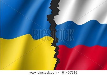 Russian Federation and Ukrainian crisis. Break between Russian and Ukrainian national flags. Symbolic vector illustration conflict of countries. Separation symbol.