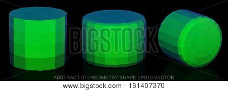 Set of Abstract geometry shape: low poly Green Cylinder. 3D polygonal objects, EPS 10, vector illustration.
