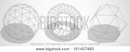 Set of Abstract stereometry shape: Pencil sketched Geosphere, Torus, Octahedron with Transparent Shadow. Hand drawn 3D polygonal objects. EPS 10, vector illustration.