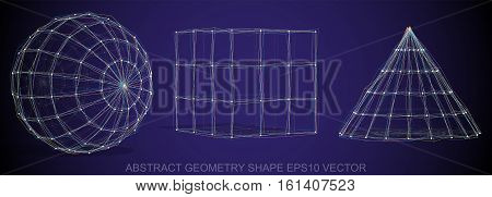 Set of Abstract geometry shape: Multicolor sketched Sphere, Cube, Cone with Transparent Shadow. Hand drawn 3D polygonal objects. EPS 10, vector illustration.