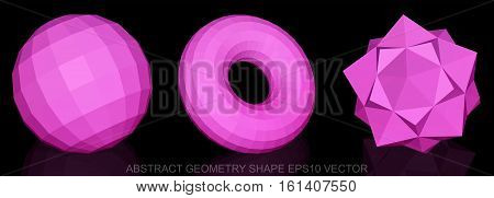 Set of Abstract geometry shape: low poly Pink Sphere, Torus, Octahedron. 3D polygonal objects, EPS 10, vector illustration.