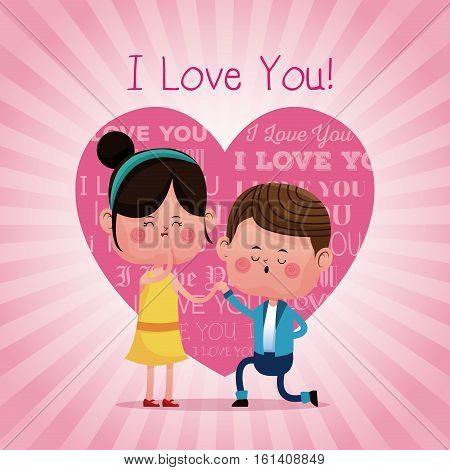 couple proposal happy i love you pink heart background vector illustration eps 10