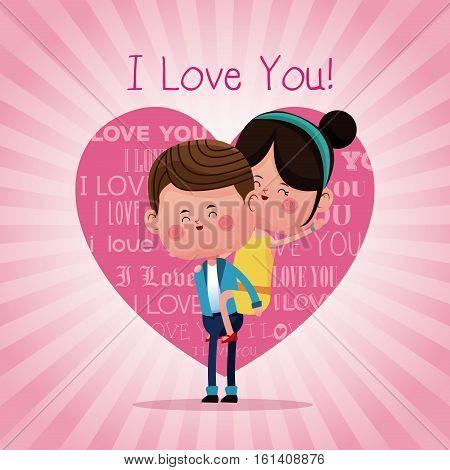 boy carrying girl funny love vector illustration eps 10