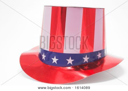A stars and stripes patriotic top hat. poster
