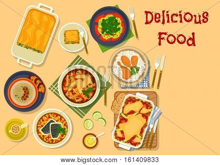 Dinner dishes icon with chicken in mustard sauce with rice, lasagna, meat casserole, mushroom cheese soup, chicken vegetable stew, shrimp and watermelon salad, perch with beans. Restaurant menu design