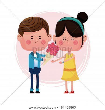 boy giving flower girl love card vector illustration eps 10