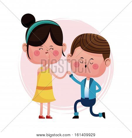 couple loving proposal happy vector illustration eps 10