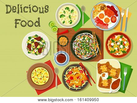Breakfast food icon with british egg and bacon, french apple pancake, chinese pork shrimp noodle, thai squid salad, fish potato soup, bean stew, lamb vegetable roast, chicken broccoli soup