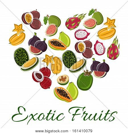 Heart of exotic fruit with cartoon tropical papaya, dragon fruit, carambola, passion fruit, durian, lychee, fig, guava. Love fruit poster for food, juice, vegetarian dessert design