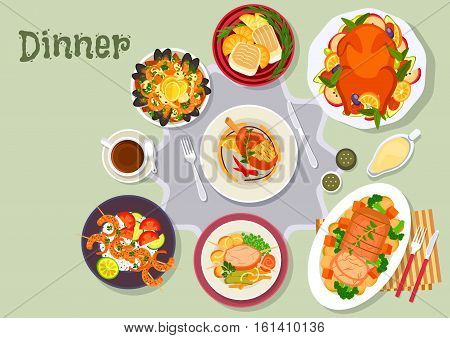 Christmas dinner icon of baked duck with fruit, pork with vegetable, pork chop, fish with oranges, seafood paella, beef steak, spicy shrimp skewers. Festive xmas and New Year menu design