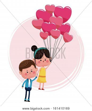 cute couple loving with pink balloons heart shaped vector illustration eps 10