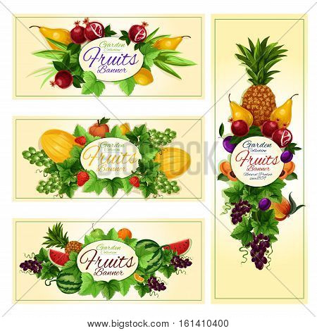 Fruit and berry cartoon banner set. Apple, orange, strawberry, grape, pineapple, plum, peach, watermelon, pear, pomegranate, melon and lemon fruits label Juice packaging diet food and drink design