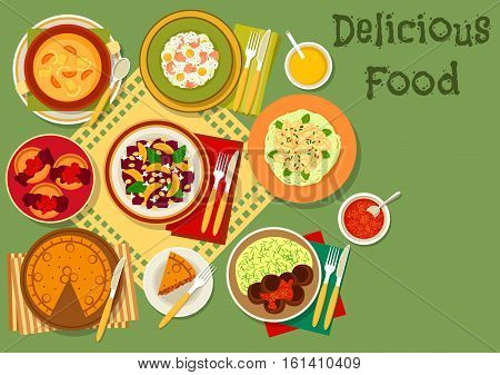 Popular dishes of Great Britain and thai salad icon with british meat pie, rice with fish and egg, ale cream soup, chocolate pudding, meatball with mashed potato, beet and squid salads