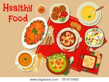 Main dishes of dinner menu icon with baked chicken, fish soup, pumpkin rice soup, zucchini soup with croutons, pumpkin chicken pancake, pea cream soup, beet soup and squid egg salad