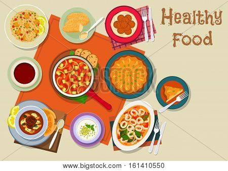 Spanish and jewish cuisine icon with meat paella, vegetable stew, beef soup, seafood stew with cuttlefish, chickpea falafel, milk dessert, fried cream, semolina cake with nuts. Healthy food design