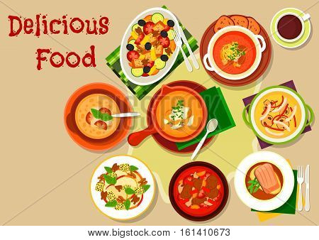 Popular soup and salad dishes icon of vegetable soup with dumplings, italian bread soup, salmon steak, seafood mushroom soup, vegetable olives bread salad, fruit salad with cheese and nut