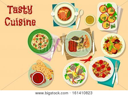 Lunch menu icon with french cabbage stew with meat, sausage, mexican burrito, russian pickle soup, baked shrimp and fish, duck fig salad, tomato with cheese, beef vegetable salad, herring apple salad