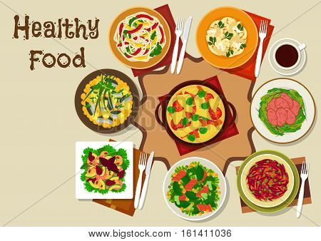 Salad and snack food icon with cheese cauliflower pasta, beef salad, vegetable herring salad, vegetable pasta, tomato omelette, shrimp mushroom salad, ham bean salad, beet pork salad