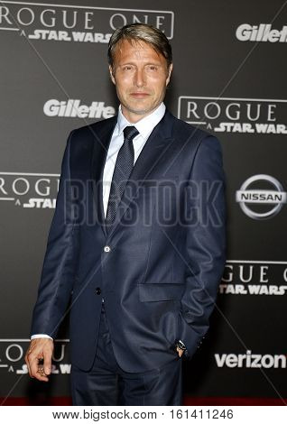 Mads Mikkelsen at the World premiere of 'Rogue One: A Star Wars Story' held at the Pantages Theatre in Hollywood, USA on December 10, 2016.
