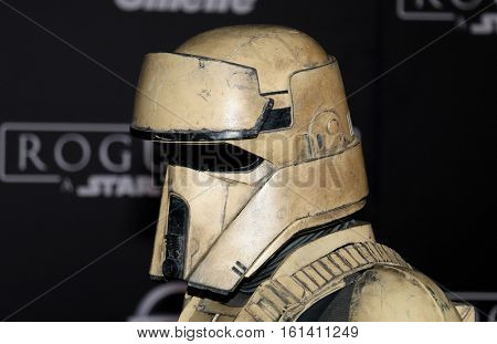 A Shoretrooper at the World premiere of 'Rogue One: A Star Wars Story' held at the Pantages Theatre in Hollywood, USA on December 10, 2016.