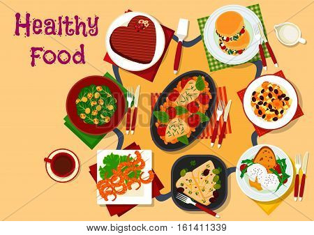 Breakfast dishes icon with poached egg, chicken with tomato and beans, greek salad, chocolate cake heart, brussel sprouts and carrot vegetable side dishes, shrimp in ginger sauce, fish with olives