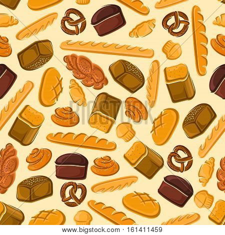Bread and bakery products seamless pattern. Background with vector pattern of croissant, sliced bread, baguette, muffin, bun, loaf, pretzel, bagel, pie for patisserie, cafe, bakery pastry shop