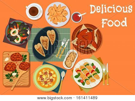 Meat and seafood dinner dishes icon of chicken wings with honey sauce, beef meatball, seafood stew, turkey skewers, vegetable beef soup, stuffed squid and fortune cookie