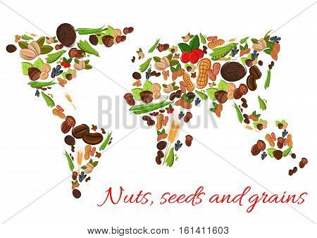 World map poster vector photo free trial bigstock world map poster of vector nuts grains seeds vector nut grain gumiabroncs Choice Image