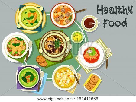 Soup dishes for healthy lunch icon with cream soups with salmon and shrimp, meatball and mushroom soups, eggplant chicken curry soup, corn soup with cheese, chili soup with pork and corn