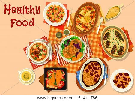Hearty dishes with meat and fish icon of lamb stew, bean stew with sausage, baked fish in sour cream, cabbage mushroom soup, vegetable lamb stew, zucchini cheese pancake, seabass with vegetables