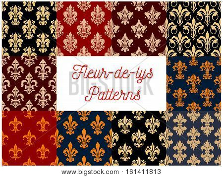 Fleur-de-lys royal seamless patterns. Stylized vector decoration pattern of french lily. Fleur-de-lis royal heraldic flower decorative elements