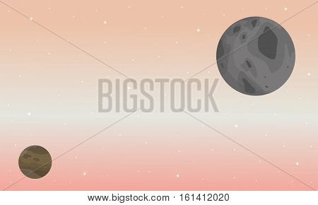 Illustration of Planet ouster space scenery collection stock