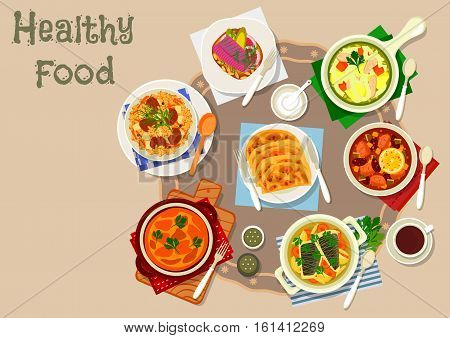 Tatar cuisine traditional dishes icon with lamb rice pilaf, chicken noodle soup, sour soup with meat and pickles, fish soup, fried potato patty, baked omelette, herring sandwich