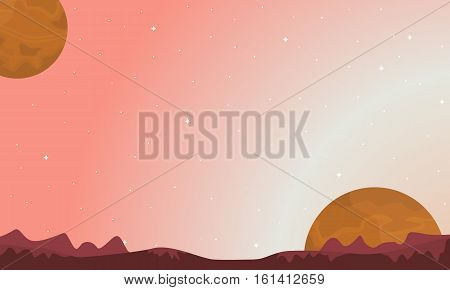 Vector illustration space background landscape collection stock