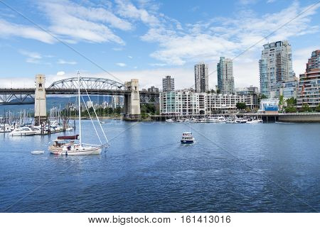 Boats in the harbor in Vancouver British Columbia