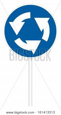 Prescriptive traffic sign isolated on white 3D illustration - Circular motion
