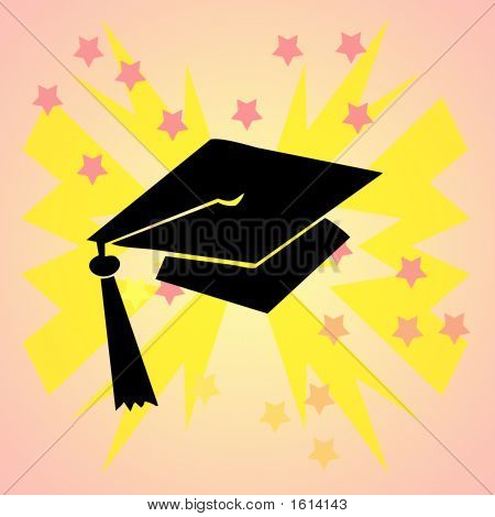 Grad Hat Pink Background